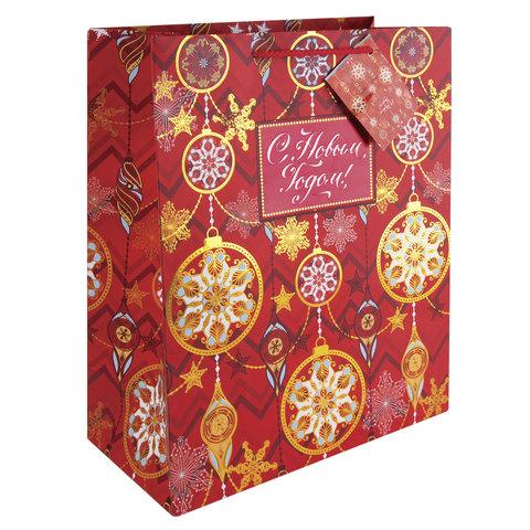 """Пакет подарочный ламинированный, 17,8х22,9х9,8 см, """"Золото на красном"""", с тиснением"""