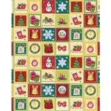 Бумага упаковочная подарочная, «Новогодний калейдоскоп», 100×70 см, в рулонах, мелованная, 80 г/<wbr/>м<sup>2</sup>