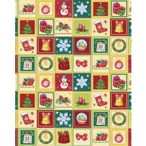 """Бумага упаковочная подарочная, """"Новогодний калейдоскоп"""", 100х70 см, в рулонах, мелованная, 80 г/м2"""