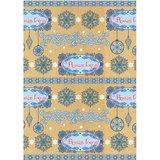 Крафт-бумага упаковочная подарочная, «Голубые узоры», 100×70 см, в рулонах, 80 г/<wbr/>м<sup>2</sup>