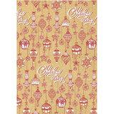Крафт-бумага упаковочная подарочная, «Красно-белые шары», 100×70 см, в рулонах, 80 г/<wbr/>м<sup>2</sup>