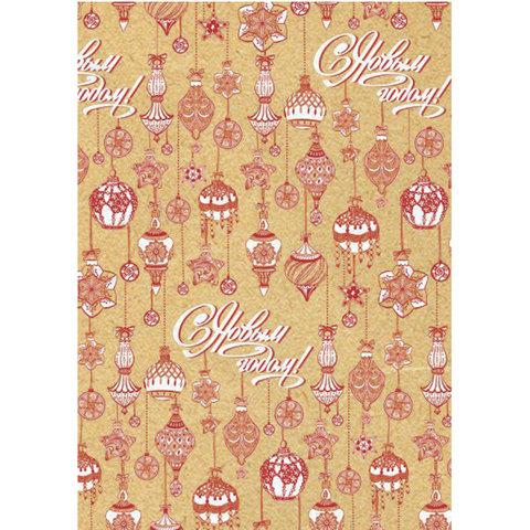 """Крафт-бумага упаковочная подарочная, """"Красно-белые шары"""", 100х70 см, в рулонах, 80 г/м2"""