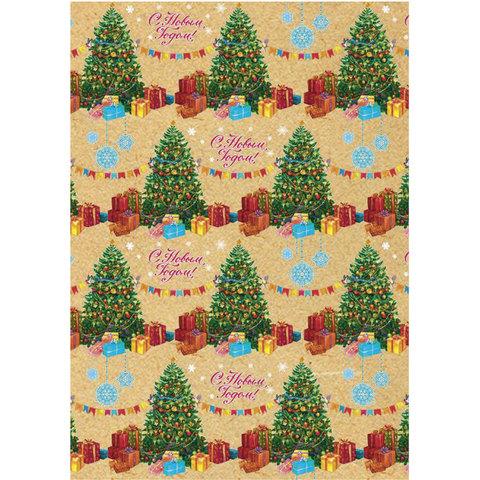 "Крафт-бумага упаковочная подарочная, ""Нарядные елочки"", 100х70 см, в рулонах, 80 г/м2"