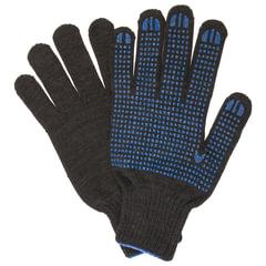 Перчатки хлопчатобумажные ЛАЙМА ПРОФИ, XL, большие, комплект 5 пар, ПВХ-точка, 7 класс, 65-67 г, 216т екс, черные