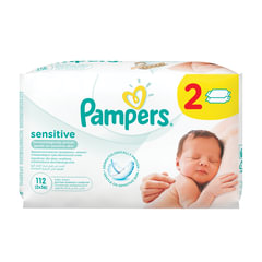 Салфетки влажные 112 шт. (56×2), PAMPERS (Памперс) «Sensitive», для нежного очищения