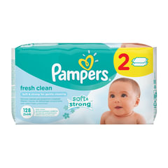 Салфетки влажные 128 шт. (64×2), PAMPERS (Памперс) «Baby Fresh Clean», для нежного очищения