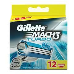 Сменные кассеты для бритья GILLETTE (Жиллет) «Mach3 Turbo», 12 шт., для мужчин