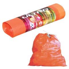 Мешки для мусора 60 л, комплект 15 шт., ПВД, особо прочные, завязки, 75×60 см, 20 мкм, оранжевые, «Ultra»