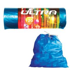 Мешки для мусора 120 л, комплект 10 шт., ПВД, прочные, завязки, 70×110 см, 30 мкм, синие, КБ «Ultra»