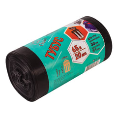Мешки для мусора 65 л, черные, в рулоне 20 шт., ПВД, 25 мкм, 50×80 см, для урн, d — 30, h — 51, КОНЦЕПЦИЯ БЫТА «Tubus»