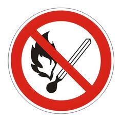 Знак запрещающий «Запрещается пользоваться открытым огнем и курить», круг, диаметр 200мм, самоклейка