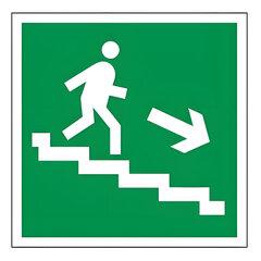 Знак эвакуационный «Направление к эвакуационному выходу по лестнице НАПРАВО вниз», квадрат 200×200мм