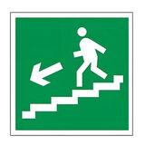 Знак эвакуационный «Направление к эвакуационному выходу по лестнице НАЛЕВО вниз», квадр 200×200 мм