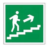 Знак эвакуационный «Направление к эвакуационному выходу по лестнице НАПРАВО вверх», квадрат