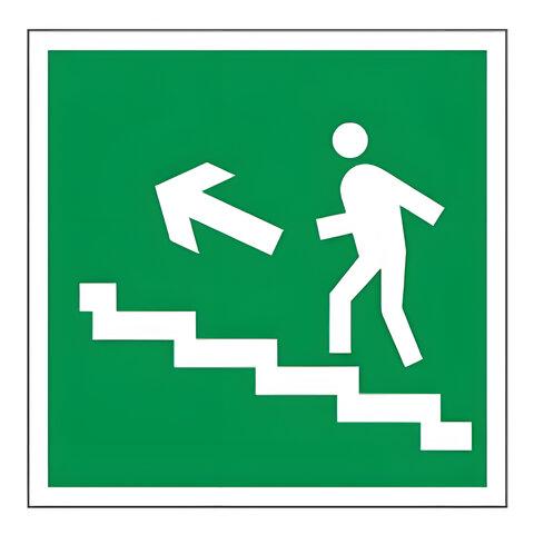 Знак эвакуационный «Направление к эвакуационному выходу по лестнице НАЛЕВО вверх», квадрат
