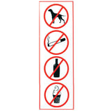 Знак «Запрещение: курить, пить, есть, прохода с животными», прямоугольник, 300×100 мм, самоклейка
