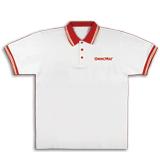 Рубашка ПОЛО ОФИСМАГ, короткий рукав, хлопок 65%, полиэстер 35%, белая с красной отделкой, р. 48-50