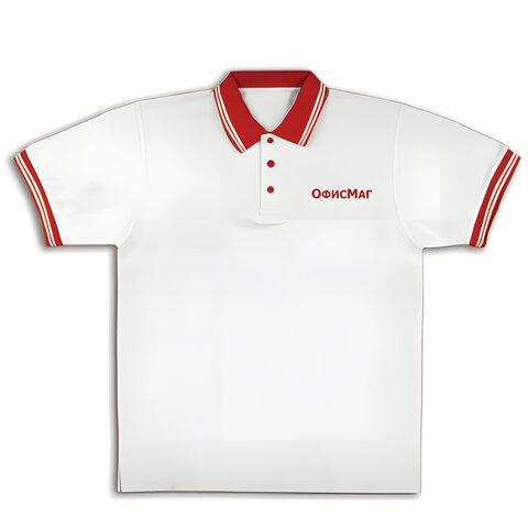 Рубашка ПОЛО ОФИСМАГ, короткий рукав, хлопок 65%, полиэстер 35%, белая с красной отделкой, р. 50-52