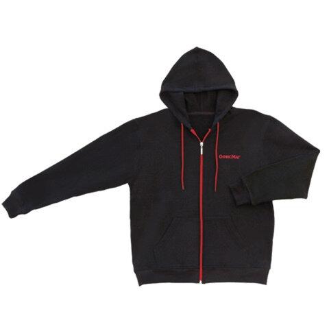 Толстовка ОФИСМАГ с капюшоном, на молнии, 2 кармана, хлопок 65% полиэстер 35%, черная, р. 50-52 (XL)