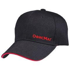 Бейсболка ОФИСМАГ, застежка на липучке, черная с красной отделкой