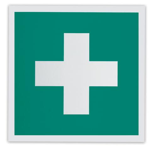 Знак «Аптечка первой медицинской помощи», 200×200 мм, самоклейка, фотолюминесцентный