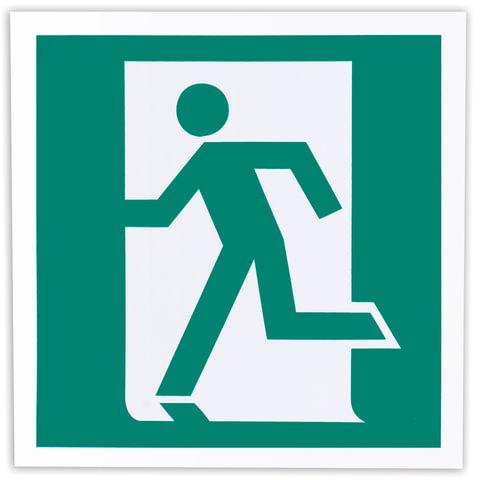 Знак эвакуационный «Выход здесь (левосторонний)», 200×200 мм, самоклейка, фотолюминесцентный