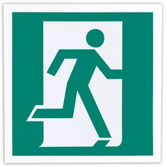 Знак эвакуационный «Выход здесь (правосторонний)», 200×200 мм, самоклейка, фотолюминесцентный