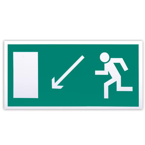 Знак эвакуационный «Направление к эвакуационному выходу налево вниз», 300×150 мм, самоклейка