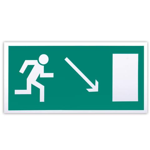 Знак эвакуационный «Направление к эвакуационному выходу направо вниз», 300×150 мм, самоклейка
