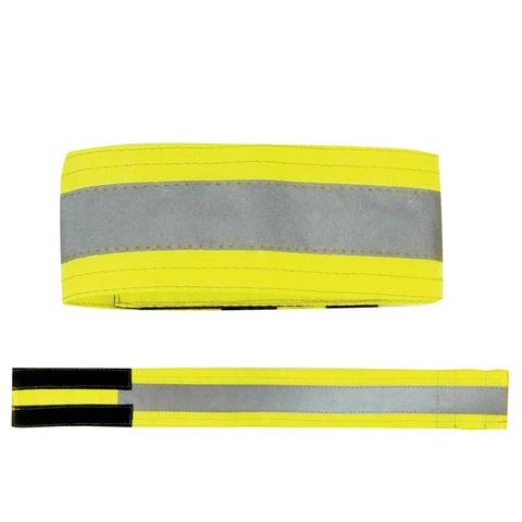 Повязка светоотражающая на руку, 430×55 мм, на липучке, лимонная
