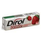 Жевательная резинка DIROL отбеливающая «Клубничная поляна», без сахара, 10 подушечек, 14 г