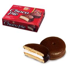 """Печенье LOTTE «Choco Pie"""" (""""Чоко Пай»), прослоенное, глазированное, в картонной упаковке, 336 г (12 штук х 28 г)"""