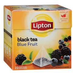 Чай LIPTON (Липтон) «Blue Fruit», черный с ежевикой, смородиной и черникой, 20 пирамидок по 2 г