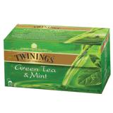 Чай TWININGS (Твайнингс) «Green tea Mint», зеленый, со вкусом мяты, 25 пакетиков с ярлычками по 1,5 г