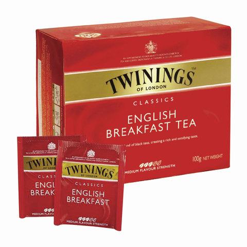 """Чай TWININGS (Твайнингс) """"English Breakfast"""", черный, 50 пакетиков"""