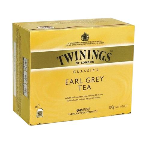 """Чай TWININGS (Твайнингс) """"Earl Grey"""", черный, 50 пакетиков"""