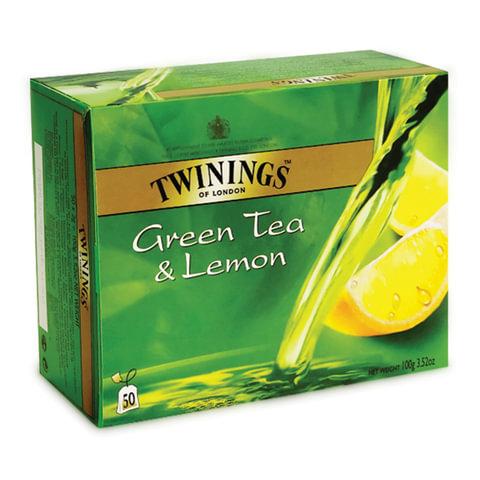Чай TWININGS (Твайнингс) «Green tea Lemon», зеленый, со вкусом лимона, 50 пакетиков
