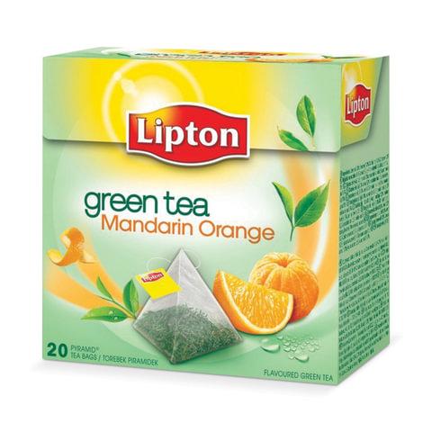 "Чай LIPTON (Липтон) ""Green Mandarin Orange"", зеленый, 20 пирамидок по 2 г"