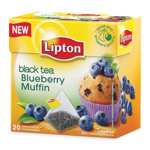 Чай LIPTON (Липтон) «Blueberry Muffin», черный со вкусом черничного кекса, 20 пирамидок по 2 г