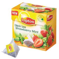 Чай LIPTON (Липтон) «Strawberry Mint», черный с клубникой и мятой, 20 пирамидок по 2 г