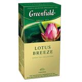 Чай GREENFIELD (Гринфилд) «Lotus Breeze» («Дуновение лотоса»), зеленый с добавками, 25 пакетиков по 1,5 г