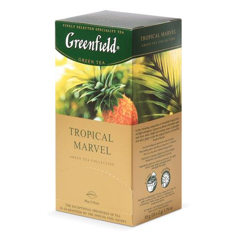Чай GREENFIELD (Гринфилд) «Tropical Marvel» («Чудо тропиков»), зеленый с ананасом, 25 пакетиков по 2 г