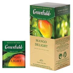 """Чай GREENFIELD (Гринфилд) «Mango Delight"""" (""""Манго»), зеленый неферментированный с добавками, 25 пакетиков в конвертах по 1,8 г"""