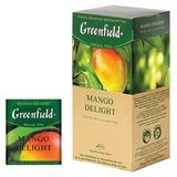 Чай GREENFIELD (Гринфилд) «Mango Delight» («Манго»), зеленый неферментированный с добавками, 25 пакетиков в конвертах по 1,8 г
