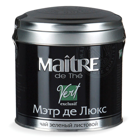 "Чай MAITRE (Мэтр) ""Мэтр де Люкс"", зеленый, листовой, жестяная банка, 65 г"
