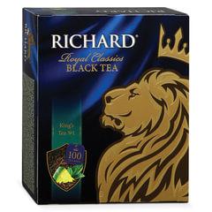 """Чай RICHARD (Ричард) «King's Tea №1"""" (""""Кингс Ти»), черный, ароматизированный, 100 пакетиков по 2 г"""