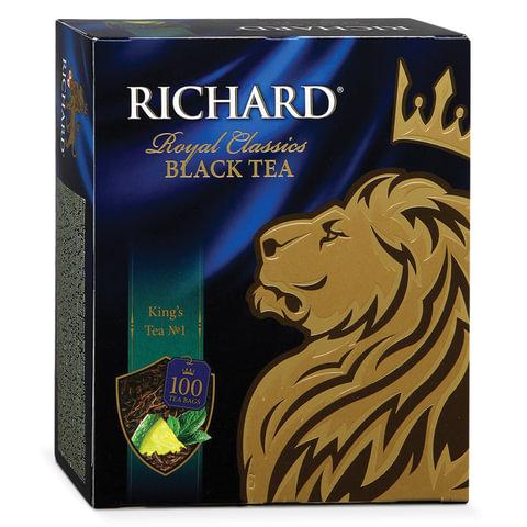 """Чай RICHARD (Ричард) """"King's Tea №1"""" (""""Кингс Ти""""), черный, ароматизированный, 100 пакетиков по 2 г"""