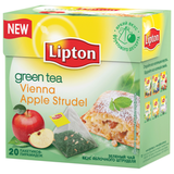 Чай LIPTON (Липтон) «Vienna Apple Strudel», зеленый, 20 пирамидок по 2 г