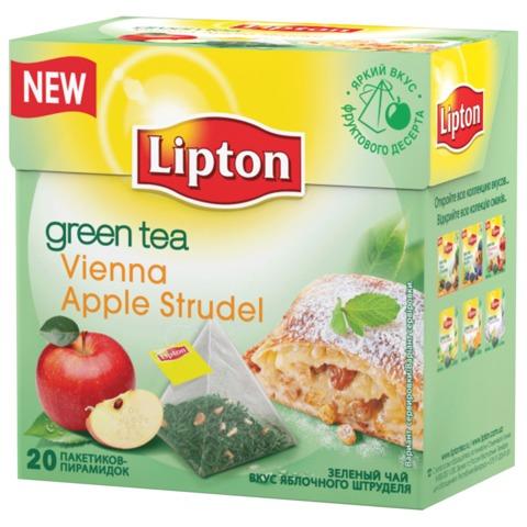 "Чай LIPTON (Липтон) ""Vienna Apple Strudel"", зеленый, 20 пирамидок по 2 г"