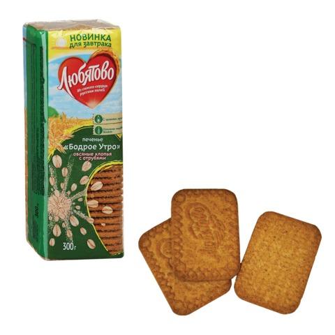 Печенье ЛЮБЯТОВО «Бодрое утро», сахарное, цельнозерновое, овсяные хлопья и отруби, 300 г, в спайке